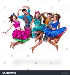 Cabaret dancer team jumping. Retro fashion style, isolated on white background in full length.
