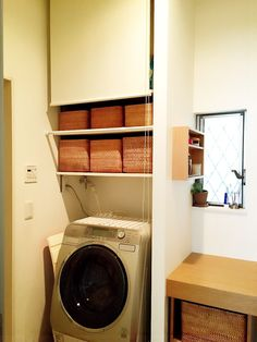 洗面室の全貌公開!収納はやっぱり無印。 | いちごのうた。 - 楽天ブログ Laundry In Bathroom, Washroom, Muji Style, Home And Deco, Stacked Washer Dryer, Dressing Room, Apartment Living, Home Renovation, Storage Spaces