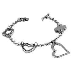 Stainless Steel Ladies Hearts and Clovers Charm Toggle Bracelet 7.25 Inches West Coast Jewelry. $13.95. Save 44%!