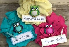 3 Personalized Owl Baby Shower Corsage Any Color by BloomingParty, $29.00
