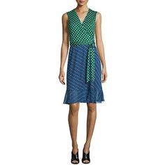 Diane von Furstenberg Bethanie Diagonal Dots Flounce Wrap Dress