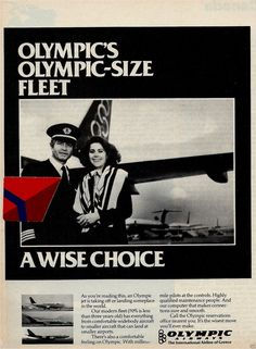 Olympic Airways Vintage Airline, Vintage Ads, Vintage Posters, Olympic Airlines, Flight Attendant, Airplane, Olympics, Magazines, Greece