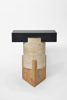 KAPITAL is a limited edition collection of side tables and stools made out of stone and marble, by Italian design studio Oeuffice #console #tabouret #marbre #pierre