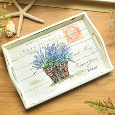 Lovely, hand-painted, wooden French country carrying tray. This traditional, French style, farmhouse tray features a bouquet of lavender, imagined as a postcard. A delightful and practical accent for