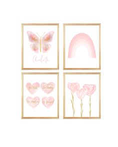 Blush and Gold Butterfly Gallery Wall, Set of 4 Girls Prints Blush And Gold Bedroom, Gold Bedroom Decor, Bedroom Prints, Nursery Prints, Butterfly Bedroom, Blush Nursery, White Art, Flower Prints, Girl Room
