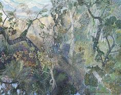 William Robinson - Forest and Turquoise Sea, 2007 Oil on linen, signed and dated lower right William Robinson 52 x 67 cm Contemporary Landscape, Abstract Landscape, Landscape Paintings, Abstract Art, Australian Painting, Australian Artists, Photo Tree, Aboriginal Art, Art Club