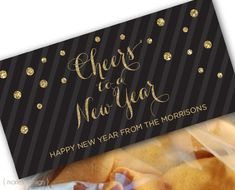Cheers to a new year personalized treat bag toppers which you print and cut yourself.  The topper measures either 4 or 6.5 wide, and 2 high when