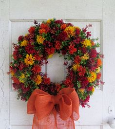 Fall wreath Mum wreath Orange burlap bow Front by WaysideFlorals