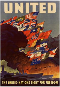 Patriotic Poster ★ from World War II, public domain image of a historic U. American Government Patriotism Symbol copyright free image of a patriotic WWII poster titled United: the United Nations fight for freedom. Posters Vintage, Retro Poster, Vintage Artwork, Poster Poster, Rodney King, Patriotic Posters, Ww2 Propaganda Posters, Political Posters, Fight For Freedom