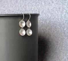 Small domed circle earrings. little dangle earrings. by Juli711