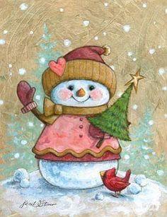 Christmas art, snowman art by renowned painter Janet Stever. Christmas Scenes, Christmas Clipart, Vintage Christmas Cards, Christmas Printables, Christmas Pictures, Christmas Snowman, Christmas Crafts, Christmas Ornaments, Christmas Drawing