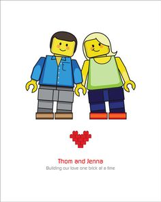 """Lego Wedding Portrait Custom (8x10) Lego Couples Personalized for You Would make a great sign in board.  I believe it's 8x10, but add an """"autograph"""" mat from the craft store and viola!"""