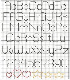 alphabet back stitch patterns Cross Stitch Letter Patterns, Cross Stitch Numbers, Cross Stitch Letters, Cross Stitch Boards, Simple Cross Stitch, Cross Stitch Designs, Stitch Patterns, Cross Stitch Font, Loom Patterns