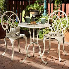 @Overstock - This three piece Anacapa bistro set features cast aluminum construction and an off-white finish. With a table and two chairs, this outdoor set is perfect for your patio, balcony or garden.http://www.overstock.com/Home-Garden/Anacapa-Aluminum-Off-white-Bistro-Set/5098446/product.html?CID=214117 $149.50