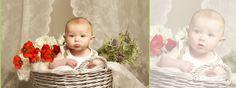 Children's portrait, Child photographer, kids photography, flowers, basket, baby cute