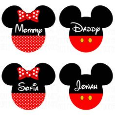 Mickey Mouse Family T Shirts Iron On Transfers Set of 4 Personalized *FREE*