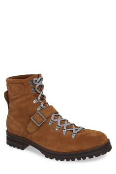 Michael Bastian Storm Lug Faux Fur Lined Hiker Boot (men) In Tan Suede Michael Bastian, Hiking Fashion, Rugged Men, Hiking Boots, Vintage Inspired, Faux Fur, Lace Up, Mens Fashion, Shopping