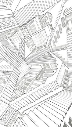 Showcase and discover creative work on the world& leading online platform for creative industries. Mc Escher Art, Escher Kunst, Art Optical, Optical Illusions, Optical Illusion Stairs, Infinity Room, Stair Art, Elements And Principles, Paint Photography