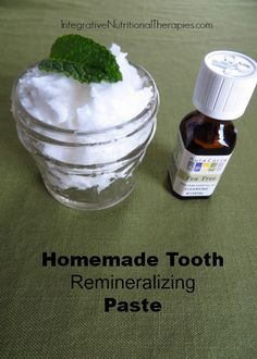 Homemade Tooth Remineralizing Paste - Melissa Malinowski ~ •2 Tablespoons clay •2 Tablespoon sea salt •1 Tablespoon baking soda or Diatomaceous Earth (DE) or a combination •3-5 Tablespoons coconut oil to get desired texture •½ dropper trace minerals •Essential oils for flavor, a couple of drops (optional) . My favorites: grapefruit, tea tree, mint, cinnamon, orange, etc...