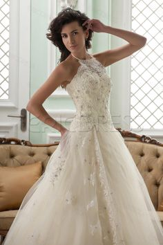 Amazing A-line High-Neck Sleeveless Floor-Length Court Appliques Color Wedding Dress Wedding Dresses 2014- ericdress.com 10411664