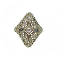 Edwardian 18K White Gold Sapphire Diamond Filigree Ring c.1910 $595.00