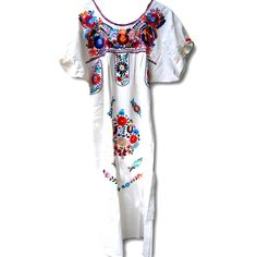 White mexican dress, Embroidered dress, Boho dress, Mexican wedding... ($74) ❤ liked on Polyvore featuring dresses, mexican dress, polyvore dress, boho chic dresses, embroidery dress, white day dress, white hippie dress and hippy dress