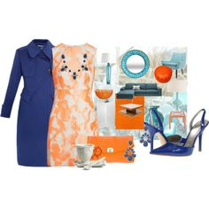 """""""Orange and Cobalt"""" by melonie-mcclamroch on Polyvore"""