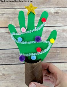 Handprint Christmas Tree craft - The Keeper of the Cheerios : Handprint Christmas Tree craft , Handprint tree, Christmas craft, Christmas keepsake Handprint Christmas Tree, Preschool Christmas, Diy Christmas Cards, Christmas Activities, Christmas Crafts For Kids, Kids Christmas, Holiday Crafts, Christmas Gifts, Christmas Wrapping