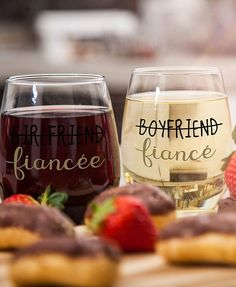 This lovely Couple Engagement Gifts is a Stemless Wine Glasses features a fun script of Boyfriend with a Crossing line and the word fiancé below, over his glass and Girlfriend with a Crossing line and the word fiancée below over her glass. It's a cute funny gift for engaged couples to help them enjoy and relax before their big day.