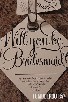 Adorable Be My Bridesmaid Wine Glass Tags -via Etsy.
