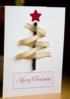 Cartão de natal feito à mão com graveto e fita. (Foto: Divulgação)