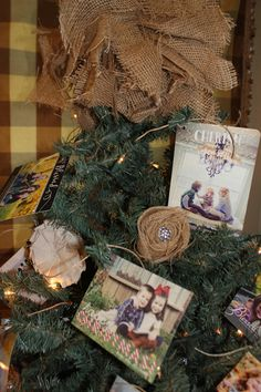 Kelly's Korner: 2012 Christmas Tour of Homes-christmas card tree with burlap rosettes