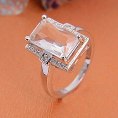 cool women fashion jewelry WHITE CZ silver ring size 7 8 9 - For Sale View more at http://shipperscentral.com/wp/product/women-fashion-jewelry-white-cz-silver-ring-size-7-8-9-for-sale/