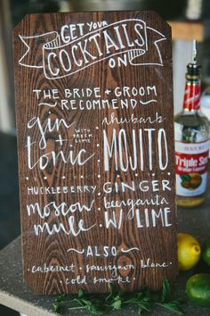 Wooden cocktail menu: http://www.stylemepretty.com/montana-weddings/ronan/2014/10/03/rustic-montana-ranch-wedding/ | Photography: Kristine Paulsen - http://kristinepaulsenphotography.com/
