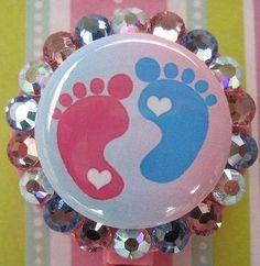 Labor and Delivery Nurse Peds OB Nursery NICU Nursing Expectant mother Baby Footprints Badge Holder ID reel with Swarovski Crystals. $11.00, via Etsy. I WANT ONE!