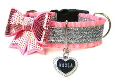 """1.5"""" Ruffle Pink and Silver Glitter Dog Collar by Wagologie"""