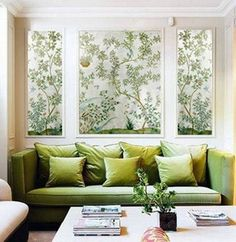 We've spent a lot of time lately looking at wallpaper, and the most beautiful patterns are often prohibitively expensive for DIY budgets. Instead of breaking the bank by papering an entire room, try purchasing a small amount of the good stuff and framing it as an accent. Have a look at these luscious examples for inspiration.