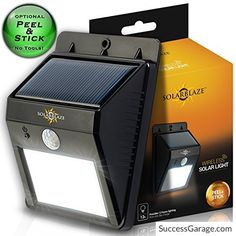 SolarBlaze Bright Solar Powered Outdoor LED Light  No Tools Peel N Stick  Motion Sensor Detector  Wireless Exterior Weatherproof Security Lighting  No Battery Required  Dusk to Dawn Dark Sensing Auto On / Off  for Patio Outside Wall Stairs Home Deck 100% Satisfaction Guarantee