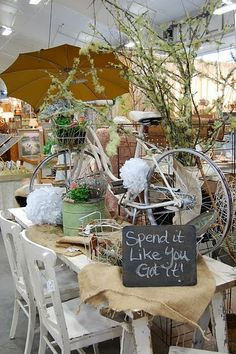 Never pass by a rickety bike with good vintage lines. Simply spray paint it, add a basket and market it as a garden bike!