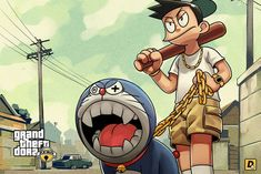 Doraemon is one of Japan's most beloved anime. Grand Theft Auto is a hugely popular video game series. Grand Theft Auto, Doraemon Wallpapers, Cute Cartoon Wallpapers, Gaming Wallpapers, Illustrations, Illustration Art, Gta Funny, Weed Wallpaper, Wallpaper Desktop