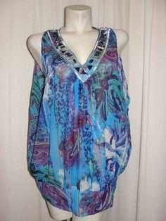 ADRIENNE VITTADINI Top Blue Purple Semi-sheer Beaded V-neck Beach Tunic Size L #AdrienneVittadini #Blouse #Casual