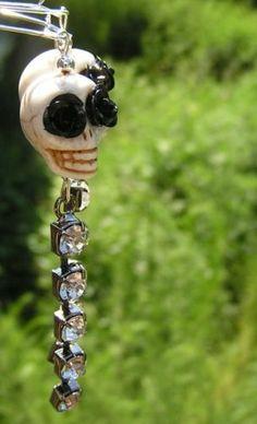 Sugar Skull Day of the Dead Jewelry LONG Skull earrings Skull Statement