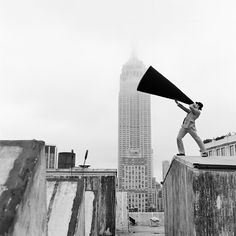 Rodney Smith Reed with Megaphone on Rooftop, New York, New York, 2011