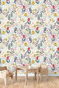 Mountain meadow removable wallpaper - white