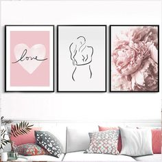 Pink Love Floral Wall Art Simple Minimalist Nordic Style Fine Art Canvas Prints Pictures For Girls Bedroom Art For Stylish Home Interior Decor Love Wall Art, Modern Wall Art, Wall Art Prints, Canvas Prints, Wall Decor Pictures, Print Pictures, Floral Wall Art, Abstract Wall Art, Bedroom Art