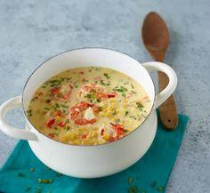 Sahniger Eintopf mit Mais, Paprika, Kartoffeln und Garnelen: So einfach kann raffiniert sein.