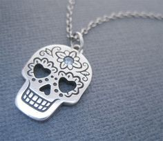 Silver Day of the Dead Skull Necklace with by JHeatonDesigns