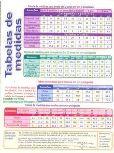 Diário de algodão : Trico - Tabela de medidas