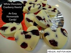 Homemade White Chocolate Covered Dried Cranberries! An Easy Heart Shaped Candy Dessert! #EASY #Valentines #Dessert #Candy #DIY