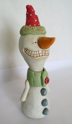 Christmas Snowman big grin carrot nose original by JanellBerryman, $95.00